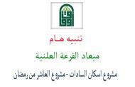 تحديد اعلان القرعة العلنية لمشروع اسكان الشباب ( السادات - العاشر من رمضان )